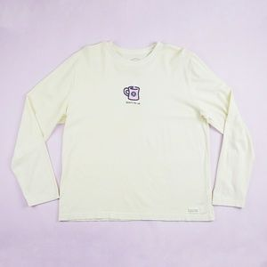 Life is Good Coffee Cup Yellow Long Sleeve Top L